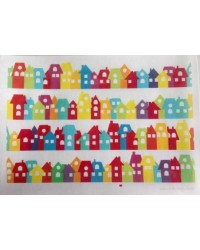 image: Wafer paper sheet Rainbow cottage houses