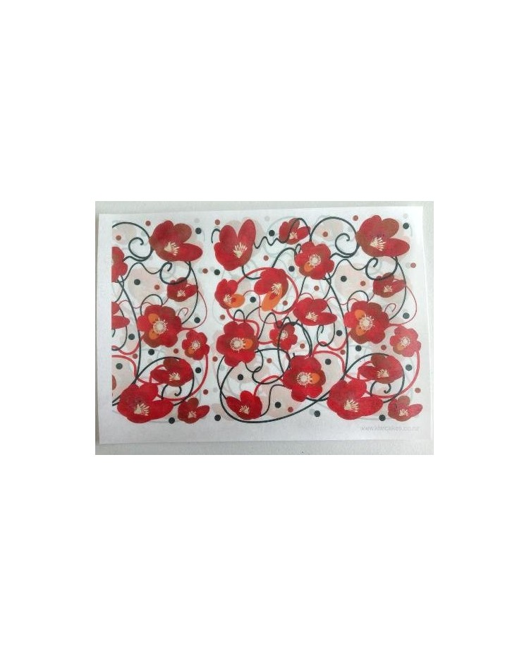 image: Wafer paper sheet Red Flowers & Vines