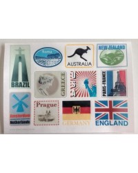 image: Wafer paper sheet Luggage suitcase travel labels world cities #1