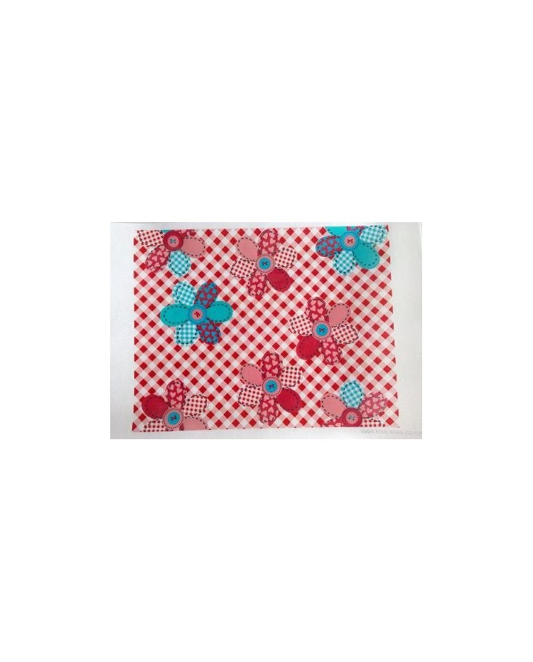 image: Wafer paper sheet Patchwork flowers & buttons