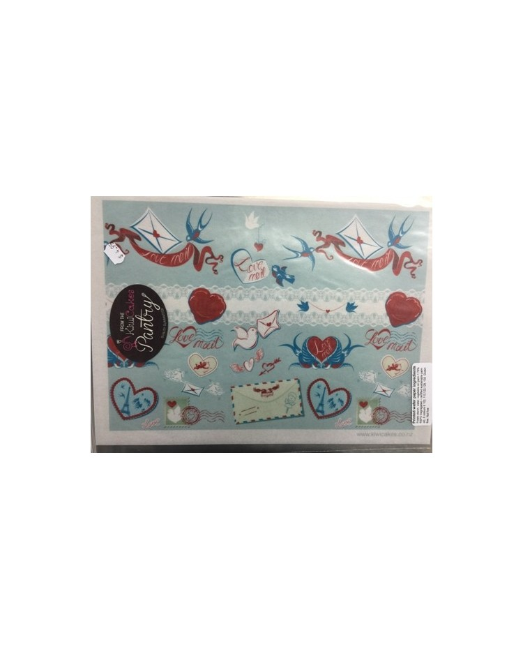 image: Wafer paper sheet Love mail (blue swallows)