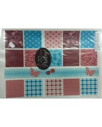 image: Wafer paper sheet Patchwork sqaures (pink red blue)