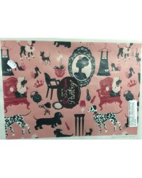 image: Wafer paper sheet Dogs & silhouette (pink/black)