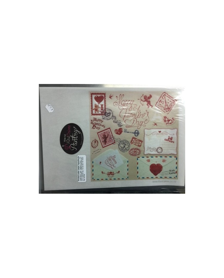 """image: Wafer paper sheet Mail """"Happy Valentines Day"""" Paris"""