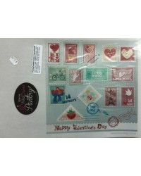 """image: Wafer paper sheet Mail """"Love Mail""""postage stamps Paris"""