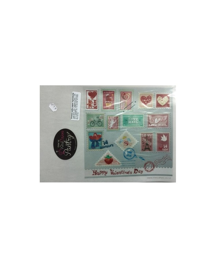 "image: Wafer paper sheet Mail ""Love Mail""postage stamps Paris"