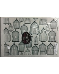 image: Wafer paper sheet Black & white birdcage