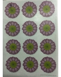 image: Wafer paper sheet 12 purple flowers daisy type