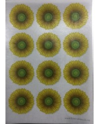 image: Wafer paper sheet 12 yellow flowers gerbera sunflower type