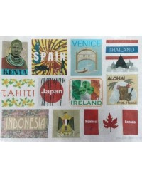 image: Wafer paper sheet Luggage suitcase travel labels world cities #2