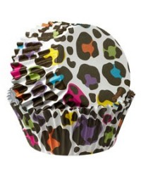 image: Colourcups foil (no grease cupcake papers) Rainbow LEOPARD