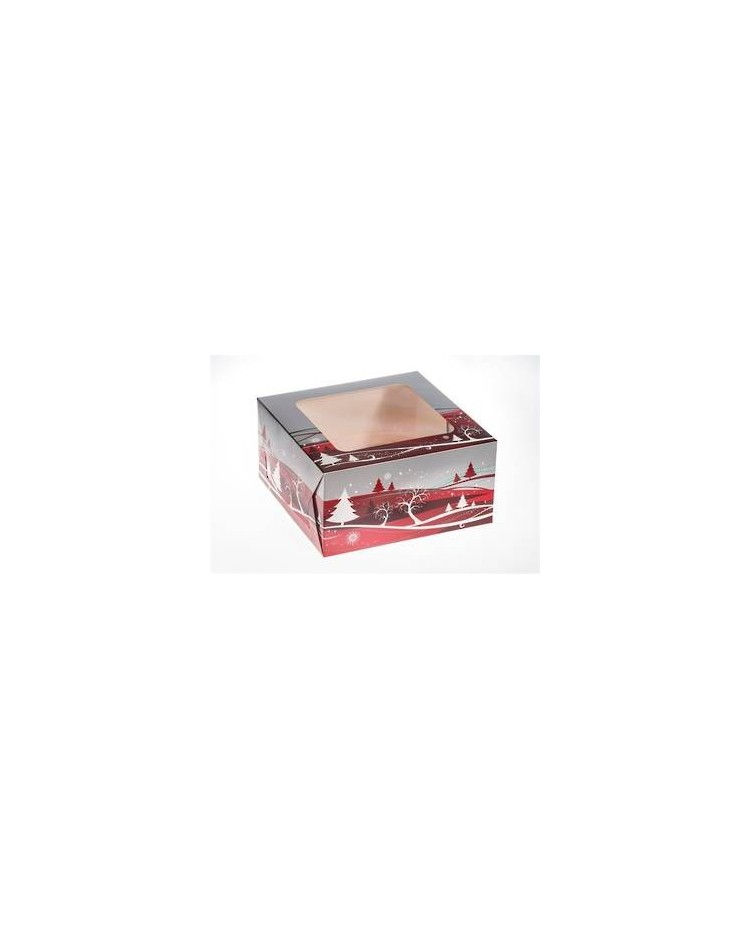 image: Christmas cake box with clear window 10 inch