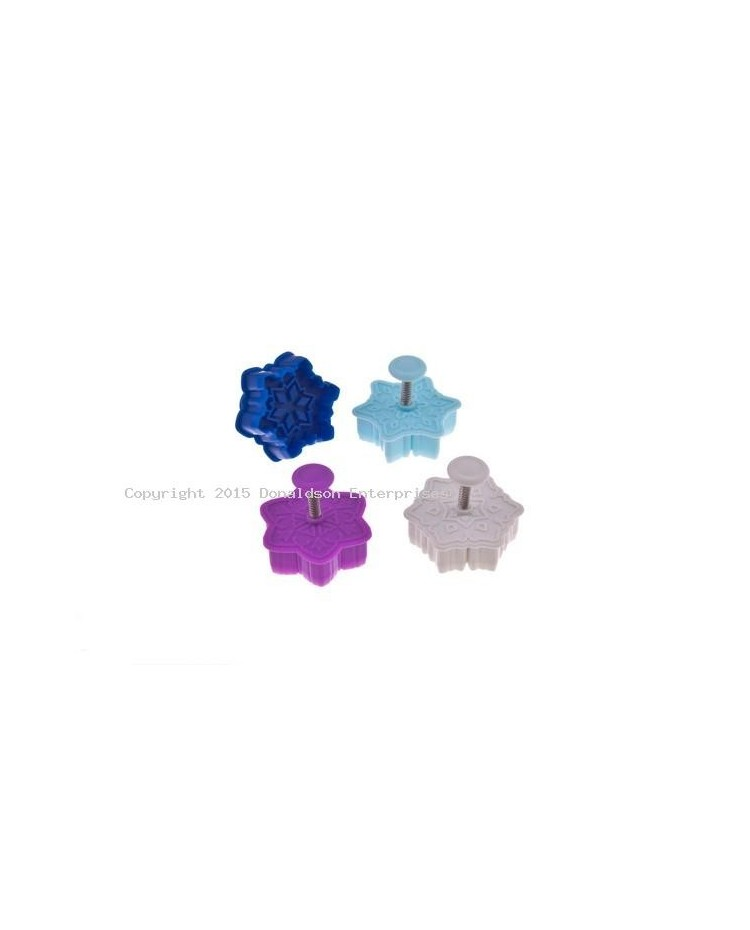 image: Set 4 coloured snowflake plunger ejector cutters
