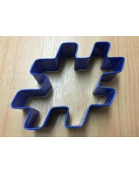 image: Blue metal Hash tag cookie cutter hashtag #