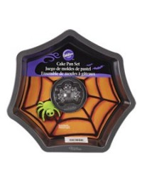 image: Spider web cake pan with mini spider cake pan included