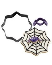 image: Mini Spider With Spider Web Coloured Metal Cookie Cutter Set