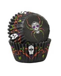 image: Day of the Dead spider Skull mini cupcake papers