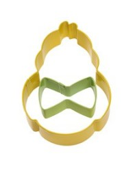 image: Duck or chick cookie cutter with bow tie Easter