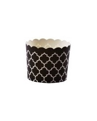 image: Black Quatrefoil straight sided baking cups cupcake papers
