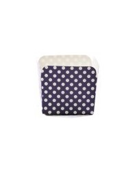 image: Square straight sided cupcake papers Navy Blue polka dot