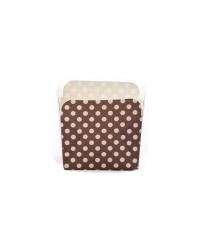 image: Square straight sided cupcake papers Brown polka dot