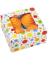 image: Rainbow dot circles cupcake box holds 4