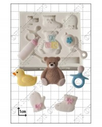image: Baby Shower Silicone Mould (teddy dummy bootie duck bottle +)