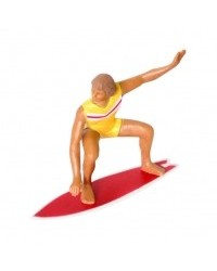 image: Male Surfer cake topper figurine Yellow/red colourway