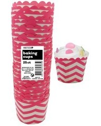 image: Chevron straight sided cupcake papers Hot pink