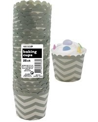 image: Chevron straight sided cupcake papers Silver