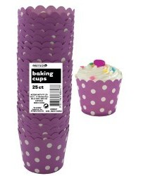 image: Polka Dots Straight sided cupcake papers Purple
