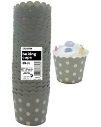 image: Polka Dots Straight sided cupcake papers Silver