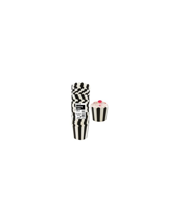image: Stripes Straight sided cupcake papers Black
