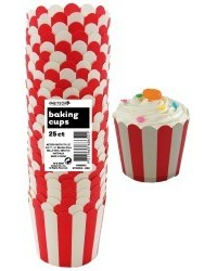 image: Stripes Straight sided cupcake papers Red