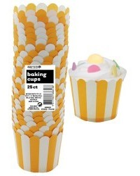 image: Stripes Straight sided cupcake papers Yellow