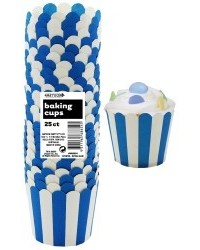 image: Stripes Straight sided cupcake papers Royal Blue