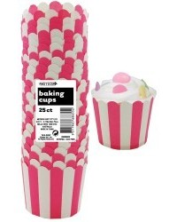 image: Stripes Straight sided cupcake papers Hot pink