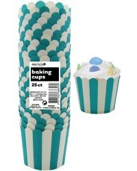 image: Stripes Straight sided cupcake papers Caribbean Teal