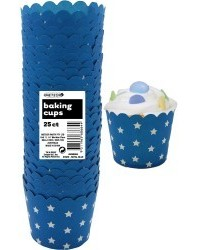 image: Stars Straight sided cupcake papers Royal Blue