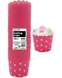 image: Stars Straight sided cupcake papers Hot pink