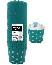 image: Stars Straight sided cupcake papers Caribbean Teal