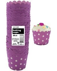 image: Stars Straight sided cupcake papers Purple