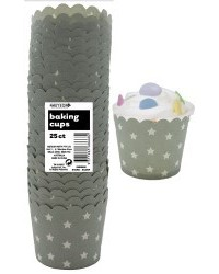 image: Stars Straight sided cupcake papers Silver