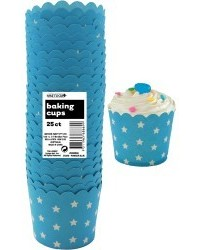 image: Stars Straight sided cupcake papers Powder Blue