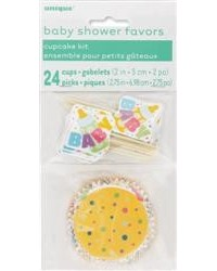 image: Baby shower standard cupcake papers & picks combo