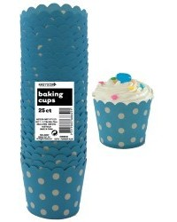 image: Polka Dots Straight sided cupcake papers Powder blue