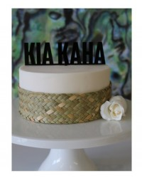 image: Black acrylic cake topper Kia Kaha (wedding or party)