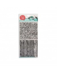image: Stamp a Cake Wood Woodgrain & Script Stamp Set