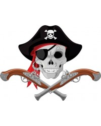image: A4 Skull & crossbones pirate & guns edible image