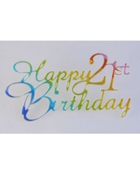 image: 21st Happy birthday plaque Rainbow Metallic